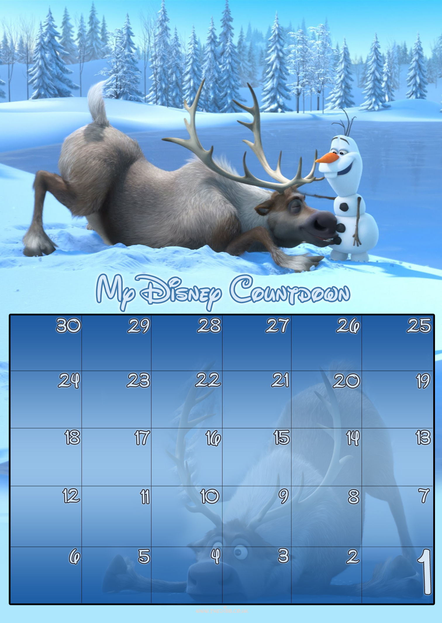 30 day disney countdown calendars thedibb