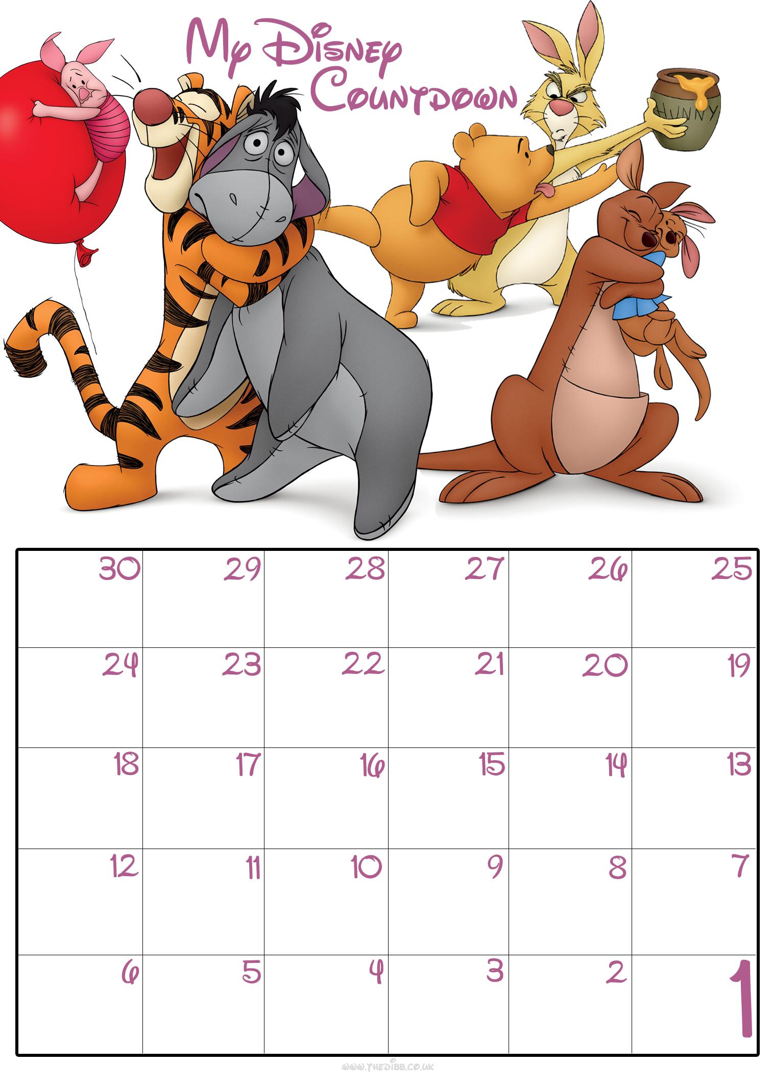 Free Printable Disney Countdown Calendar | Calendar Template 2016